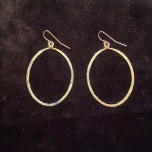 Anthropologie - Gold Oval Dangle Earrings